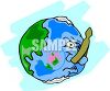 Earth with a Clothes Pin on It's Nose clipart