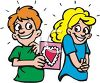 Boy Giving a Girl a Valentine clipart