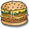 Cheeseburger with Pickels on a Sesame Seed Bun clipart
