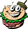Hamburger with a Pickle Garnish clipart