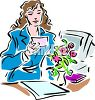 Woman Getting Flowers at Work clipart