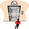 Businesswoman Waiting for an Elevator clipart