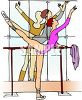 Ballet Dancer Practicing on the Barre clipart