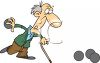 Old Man with Cane Bowling clipart