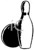 Bowling Pin and Bowling Ball clipart