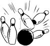 Bowling Ball Knocking Bowling Pins Down clipart