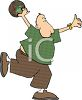 Funny Cartoon Man Bowling clipart