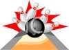 Bowling Ball Hitting Bowling Pins clipart
