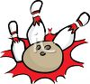 Bowling Ball Knocking Down Bowling Pins clipart
