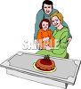 Girl and Her Parents Celebrating Her Birthday clipart