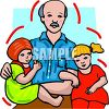 Man With His Two Small Daughters clipart