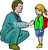 Dad Seeing His Daughter Off to School clipart