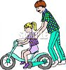 Dad Teaching His Daughter to Ride a Bike clipart