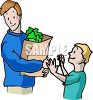 Boy Helping His Dad with the Groceries clipart