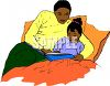 Little Black Girl Reading a Bedtime Story with Her Dad clipart