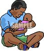 Black Man Holding His Newborn Baby clipart