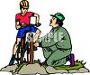 Man Teaching His Son To Ride a Bike clipart