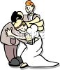 Man With His Daughter and New Son-In-Law at Their Wedding clipart