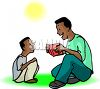 African American Man Reading to His Son in the Park clipart
