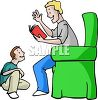 Boy Listening to His Father Read a Story clipart