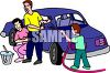 Boy and His Parents Washing the Family Car clipart