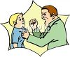 Father Raising His Fist to His Son clipart