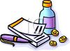 Prescription Pad and Medications clipart