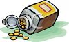 Bottle of Yellow Tablets clipart
