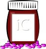 Bown Prescription Bottle and Pink Tablets clipart