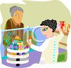 Woman Helping an Older Woman in a Drug Store clipart