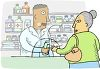 Old Woman Buying Medication clipart
