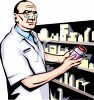 Pharmacist Holding a Bottle of Medicine clipart