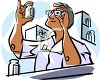 Pharmacist Reading a Bottle of Medication clipart