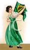 Irish Maid Holding Up the Flag of Ireland clipart