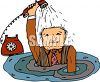 Man in a Flooding House Calling for Help clipart