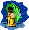 African American Boy Standing in the Rain clipart