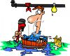 Plumber in a Flooded Basement clipart