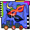 Mardi Gras Graphic of Nighttime City, Masks and Moon clipart