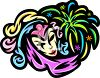 Mardi Gras-Harlequin Mask and Fireworks Design clipart