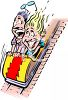 People on a Roller Coaster at an Amusement Park clipart
