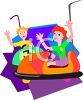 Kids Riding the Bumper Cars clipart