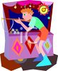 Boy at a Carnival Shooting Gallery clipart