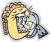 Man Sticking His Head in a Lions Mouth clipart