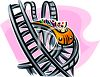 People Riding a Roller Coaster at a Theme Park clipart
