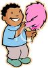 African American Boy Eating Cotton Candy clipart