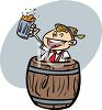 Guy with a Mug of Beer Inside a Keg clipart
