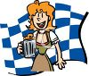 Woman Serving Beer in a Tavern clipart