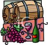 Wooden Barrels of Wine and a Bottle clipart