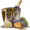 Bottle of Champagne with Bread and Cheese clipart