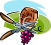 Vineyard Barrel and Snipped Grapes clipart